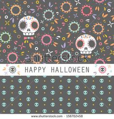Vector set of two halloween seamless patterns. Cartoon sculls and flowers. Halloween elements for scrap-booking. Hand drawn vector illustrat...
