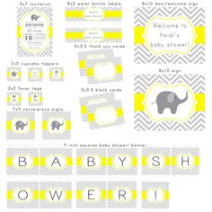 PRINTABLE Gray and Yellow Elephant Chevron Baby Shower party package set