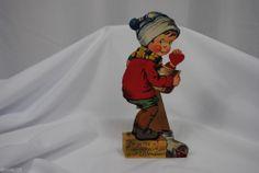 vtg valentine card Katz USA standup cardboard mechanical boy in sweet jar