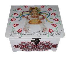 Handmade decorated jewelry box, Jewelry box folk pattern, Painted jewelry box, Decoupage jewelry box, Gift jewelry box, Transylvania gift