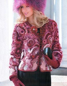 "Photo from album ""Журнал мод on Yandex. Crochet Jacket, Crochet Cardigan, Knit Or Crochet, Irish Crochet, Lace Dress Styles, Crochet World, Freeform Crochet, Irish Lace, Beautiful Crochet"
