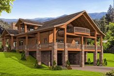 Mountain House Plan with Huge Wrap-Around Porch - thumb - 01 - House Plans, Home Plan Designs, Floor Plans and Blueprints Cabin House Plans, Mountain House Plans, Craftsman Style House Plans, Rustic House Plans, Mountain Home Exterior, Mountain Houses, Space Mountain, Home Architecture Styles, Architecture Design
