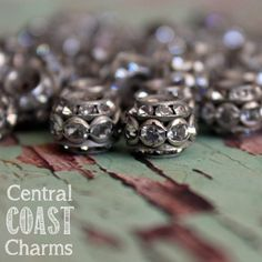 Back In Stock ~ Aged Silver Czech Crystal Rhinestone Rondelle Barrel Bead - 10mm x 9mm - Vintage Shabby Style - 10pcs - Central Coast Charms