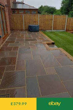 Browse images of black modern Garden designs: GALAXY SANDSTONE PAVING. Find the best photos for ideas & inspiration to create your perfect home. Sandstone Paving Slabs, Paving Stone Patio, Patio Slabs, Landscaping Retaining Walls, Patio Tiles, Home Landscaping, Bluestone Patio, Garden Slabs, Garden Paving