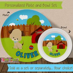 Personalized Puppy Plate and Bowl Set - Personalized Melamine Children Plate and Cereal Bowl - Kids  sc 1 st  Pinterest : personalized plastic plates for kids - pezcame.com