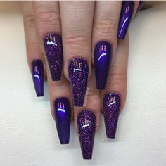 A correctly chosen shade and design are important when you are playing around with coffin nail art. It happens that we know everything about that and we are going to share with you all our knowledge on the best shades to compliment your nails. Dark Purple Nails, Purple Acrylic Nails, Purple Glitter Nails, Blue Coffin Nails, Matte Nails, My Nails, Long Nails, Glitter Bomb, Glitter Gel