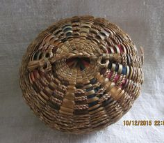Covered Antique Sweet Grass Sewing Basket  by angelinabella