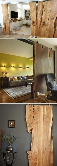 Wood that has natural edge left uncut has become more and more popular in home decor, as it would bring cozy and natural beauty looking raw yet very refined. And another interesting feature for live edge wood is its chaotic beauty againsts human-created s Easy Home Decor, Handmade Home Decor, Cheap Home Decor, Cool Wood Projects, Live Edge Furniture, Diy Casa, Live Edge Wood, Decorating On A Budget, Wood Design