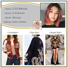 """Descendants OCs on Instagram: """"Meilin ✧ Daughter of Mulan •••••••••••••••••••••••••••••••••••••••••••••• Feel free to use this character however you like - just please…"""" Character Inspired Outfits, Fandom Fashion, Fandom Outfits, Disney Outfits, Oc, Daughter, Fashion Design, Fashion Ideas, My Style"""