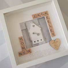 Your place to buy and sell all things handmade Scrabble Tile Crafts, Scrabble Frame, Scrabble Art, Box Frame Art, White Box Frame, Box Frames, Diy Frame, House Gifts, New Home Gifts