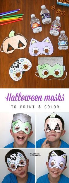 What a great idea for classroom Halloween parties! Free printable Halloween masks that kids can color in and cut out all by themselves. Easy and fun Halloween craft activity for kids. (Halloween Games For Kindergarteners) Kindergarten Halloween Party, Halloween Craft Activities, Classroom Halloween Party, Halloween Party Games, Halloween Crafts For Kids, Craft Activities For Kids, Halloween Games For Preschoolers, Craft Kids, Fall Crafts