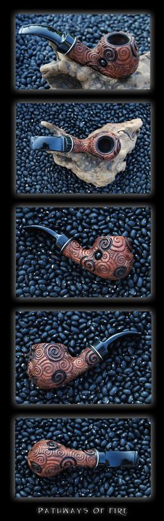 My third tobacco pipe! #3 is called Pathways Of Fire, and was commissioned by ~malkie13. Another pearwood pipe, #3 is a clone in shape and size of Spiral Dreams, and another with spirals, but with ...