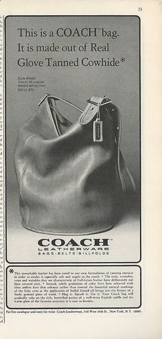 1975 COACH Bag Purse PHOTO Bucket Style Glove Tanned Cowhide NY Vintage PRINT Ad