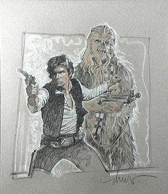 Han Solo Chewbaca Star Wars - Drew Struzan Comic Art