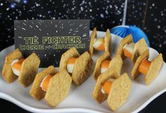 Love it! Replace the cheese with Daiya & it's good to go. TIE Fighter Cheese and Crackers