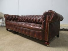 Sectional Sleeper Sofa Antique Large Victorian Brown Leather Chesterfield Sofa c