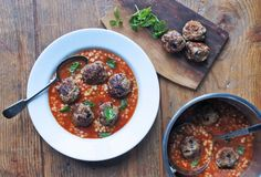 Lamb Meatballs, Spiced Tomato and Giant Cous Cous Broth