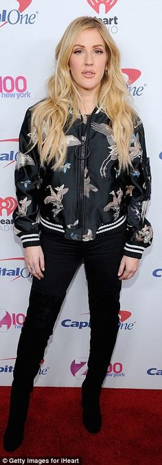 Style queen: Ever fashion conscious, Ellie rocked another cool outfit prior to taking the stage, as she appeared on the red carpet