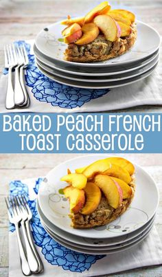 Baked Peach French Toast Casserole: minimal effort, maximum wow factor, with perfectly in-season fruit.  {Bunsen Burner Bakery}