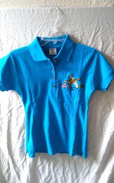 08b0c2f79ef6 SunTan Embroidered Trinidad  amp  Tobago Golf Polo Blue Shirt Size Large