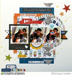 My guy - Bella Blvd & Creative Scrappers by Monique L. Baby Boy Scrapbook, Photo Album Scrapbooking, Scrapbooking Layouts, Scrapbook Paper Crafts, Scrapbook Cards, Paper Crafting, Project Life Scrapbook, Scrapbook Layout Sketches, Studio Calico