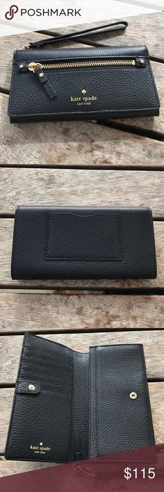 Kate Spade cobble hill Rae in black Nwt. Kate Spade wallet in soft black pebble leather. Seven card slot, one zippered pocket in front. kate spade Bags Wallets