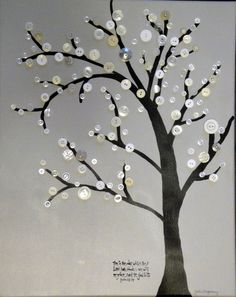 This Is The Day Vintage  White  Grey Black Button Art Canvas  Tree Art. $64.00, via Etsy.