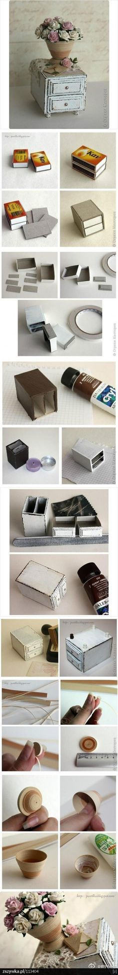 make a cute mini side table out of matchboxes! Dollhouse tutorial, ideas for dollhouse furniture, DIY dollhouse furniture Miniature Furniture, Doll Furniture, Dollhouse Furniture, Furniture Stores, Furniture Outlet, Furniture Ideas, Furniture Online, Handmade Furniture, Furniture Design