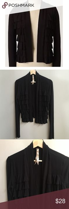 Anthropologie black ruffle soft open cardigan Rayon blend open front cardigan. Super soft and stretchy. In great shape. Slightly shorter in fit. By Bailey44 @ Anthropologie. Anthropologie Sweaters Cardigans