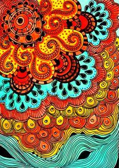Fine+Art+PRINT+Sunorange+yellow+blue+ink+and+acrylic+by+devikasart,+$12.00
