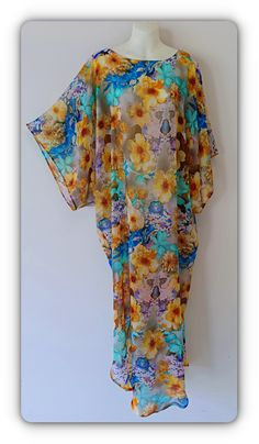 """Hand made , one of a kind """"Fairy Garden"""" Chiffon Kaftan dress . By Alexandria Hall Long African Dresses, African Fashion Designers, Latest African Fashion Dresses, Kaftan Designs, English Dress, Lace Gown Styles, A Line Gown, Oriental Fashion, Turbans"""