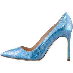 Manolo Blahnik Bb Snakeskin Pump, Blue ($865) ❤ liked on Polyvore featuring shoes, pumps, blue high heel pumps, blue snakeskin pumps, blue pumps, blue shoes and pointy-toe pumps