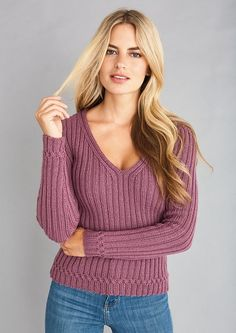 Free knitting pattern for a flattering ribbed V neck jumper with subtle cable stitch detailing in Patons DK weight yarn. See our great prices and fast service. Easy Sweater Knitting Patterns, Free Knitting Patterns For Women, Jumper Patterns, Knit Patterns, Knitting Ideas, Crochet Jumper, Knitting Projects, Knit Crochet, Jumpers For Women