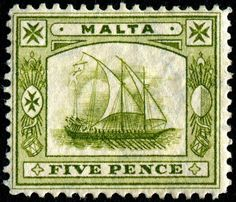 Ancient Maltese galley, engraved and printed by Thomas De La Rue & Co., and issued for use in Malta in Scott No. Stamp Values, Usa Fishing, Postage Stamp Collection, Go Game, French Artists, Stamp Collecting, Water Crafts, Postage Stamps, Malta