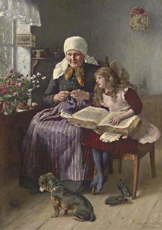 """Ensueño""     -      ""Daydreaming""     -    Harry Jochmus (1855-1915) Pintor alemán de Hamburgo"