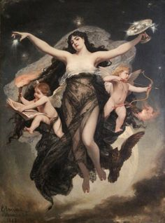 The Night Escorted by the Geniuses of Study and Love, 1883 Pedro Américo (1843 – 1905) #art #classic