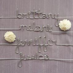 Cute wedding details - Bridesmaid's hangers from MyAmberColouredWorld