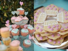 pink and aqua custom colored heart cupcake toppers for a baby girl's first birthday