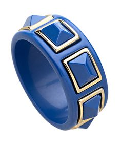 Kenneth Jay Lane Blue Gold Trimmed Pyramid Bangle
