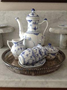 Royal Copenhagen - Blue Fluted Half Lace (my very favorite pattern for blue and white) Royal Copenhagen, Blue And White China, Blue China, Blue Onion, Tea Service, Chocolate Pots, White Dishes, French Country Decorating, White Porcelain