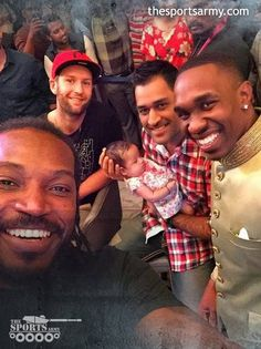 Pic of the Day : MS Dhoni with his New Born Baby Daughter Along with, other Famous Cricketers Dwayne Bravo & Chris Gayle - Spartan
