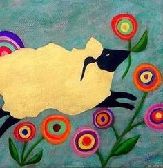 FOLK ART HAPPY SPRING SHEEP PAINTED NEEDLEPOINT CANVAS