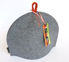 """Small Classic """"Baseball"""" tea cosy tea cozy in thick Blue Industrial wool felt by flockofteacosy.com. Fathers Day. Manly. Masculine. Modern teaware."""