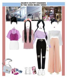"""""""«OUTFIT CHANGES» XOXO MV [AKARI] ROCKIT"""" by cw-entertainment ❤ liked on Polyvore featuring Rodarte, Barbara Casasola, Victor Xenia, Pinko, River Island, Ash, Lime Crime and Crap"""