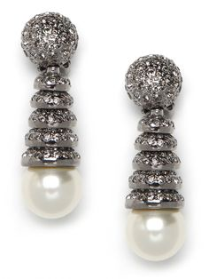 Spiral pearl drop earrings by @BaubleBar