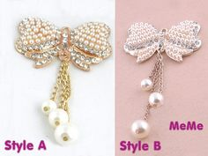 1 Piece Bling Crystal Alloy Pearl Bow Bowknot Ribbon Tassel Stud Charm Kawaii Cabochon Deco Den on Craft Phone Case DIY Deco AA1023