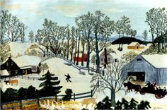 Grandma Moses (1860 - 1961) | Naïve Art (Primitivism) | Early Springtime on the Farm - 1945