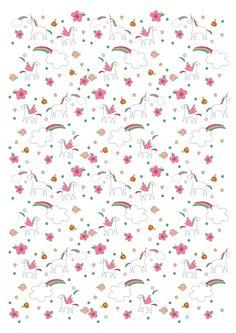 Papier à motifs licornes à imprimer - Momes.net