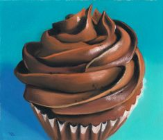 Chocolate Delight - Pastel by Ria Hills Cupcake Kunst, Cupcake Art, Cupcake Cakes, How To Use Pastels, Frosting For Chocolate Cupcakes, Sweet Drawings, Food Painting, Cupcake Painting, Stippling Art