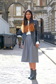 Occupation: Assistant Stylist Shirt and Jacket: H&M Skirt: vintage Boots: Zara   - ELLE.com
